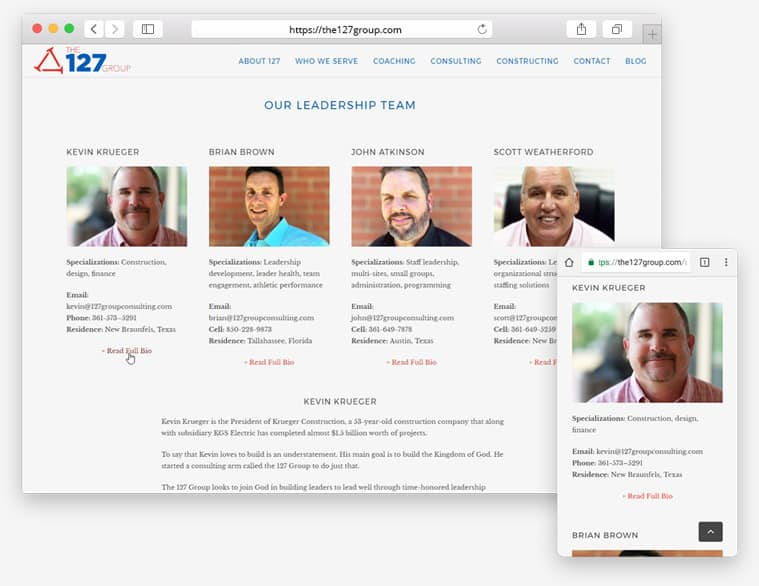 Screenshots of the 127 Group biography page on desktop and mobile