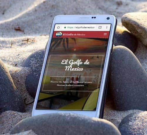 El Golfo de Mexico's website pulled up on a smart phone