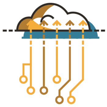 Illustration of data being backed up into a cloud