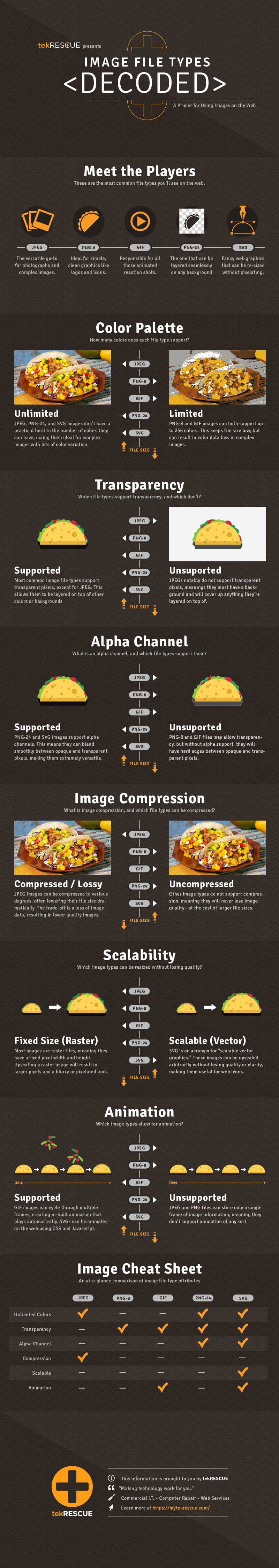 An infographic comparing different image file types. Read below for a text-based version of the info.