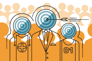 An illustration depicts finding a target audience in a large crowd.