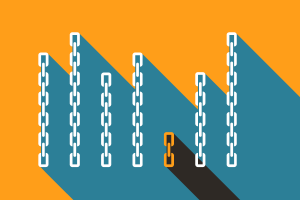 Illustration of a short chain standing out in a crowd of long chains