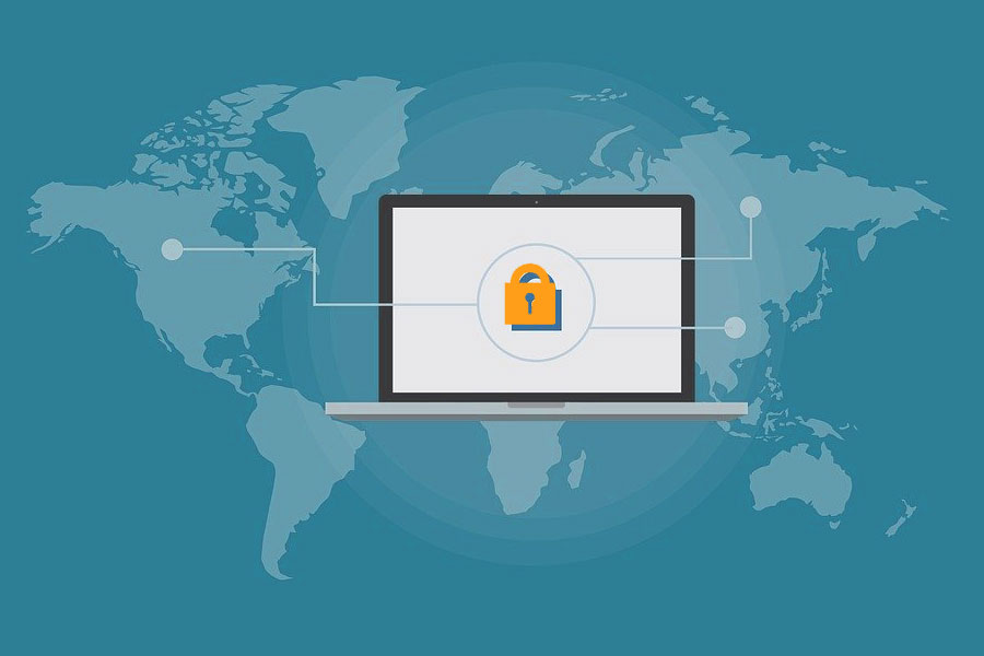 Illustration of a laptop with a padlock over a world map