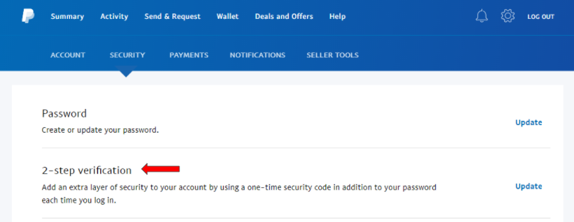 Screenshot showing security settings in a PayPal account.