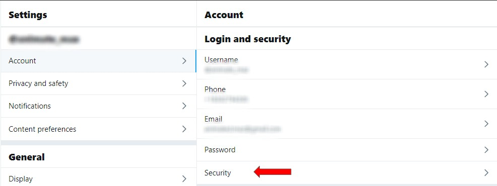 Screenshot showing security settings in a Twitter account.