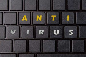 "Keyboard keys with letters spelling ""ANTVIRUS"""