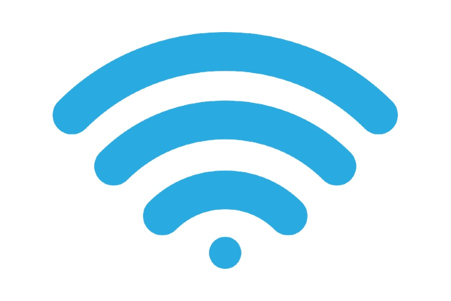 Blue wi-fi symbol
