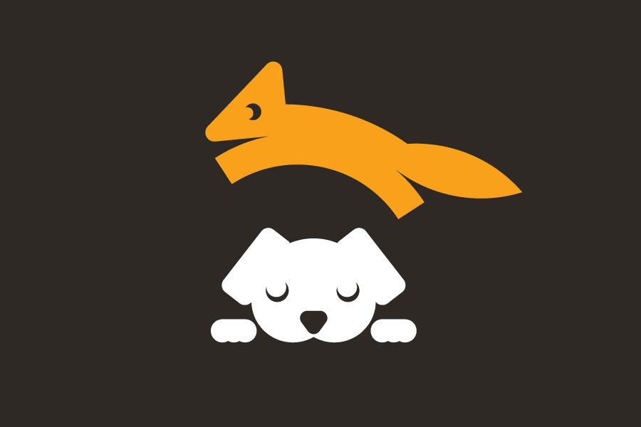 Icon of a brown fox jumping over a lazy dog