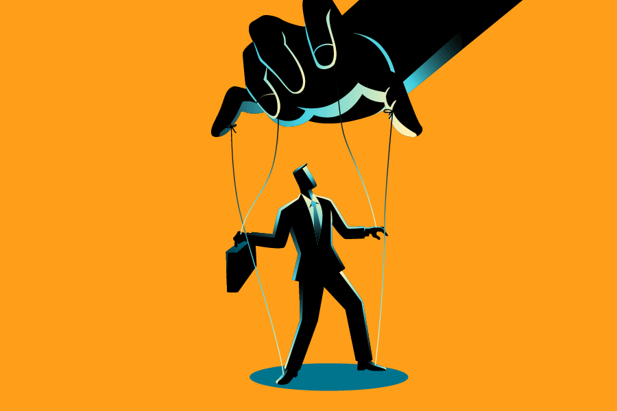 Illustration of a business man being manipulated by a puppet master's hand