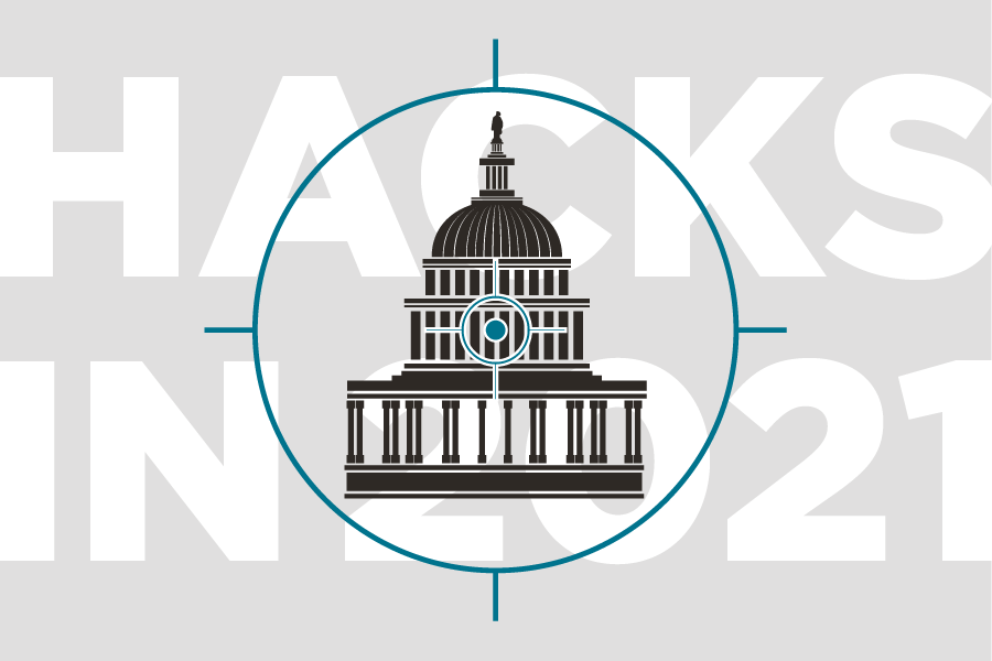 """Illustration of crosshairs over the United States Capitol building with the text """"Hacks in 2021"""""""