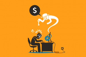 Illustration of a computer with a lock and a ghost holding a key asking for money