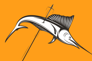 Illustration of a marlin fish being speared